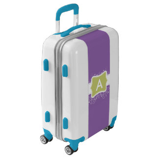 Monogram Purple Ornate Green Frame Luggage