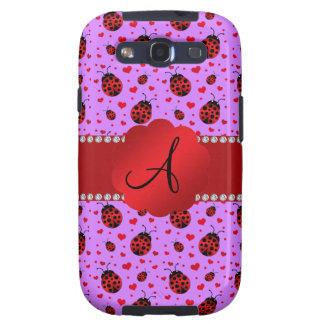 Monogram purple pastel ladybug hearts pattern galaxy s3 cover