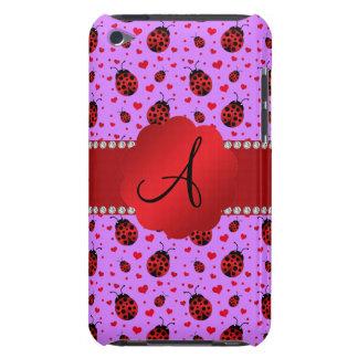 Monogram purple pastel ladybug hearts pattern iPod Case-Mate case