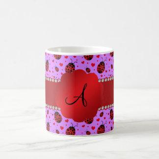 Monogram purple pastel ladybug hearts pattern mugs