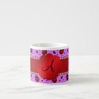 Monogram purple pastel ladybug hearts pattern espresso cup