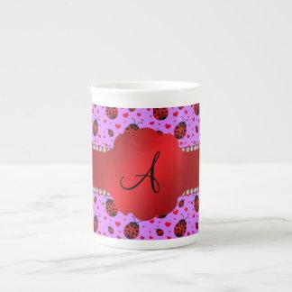 Monogram purple pastel ladybug hearts pattern bone china mugs