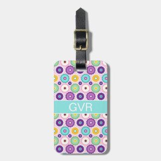 Monogram Purple Pattern Custom Luggage Tag