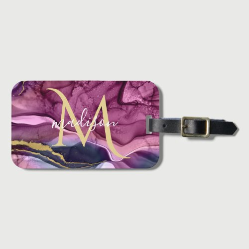 Monogram Purple Pink and Gold Agate Geode Luggage Tag