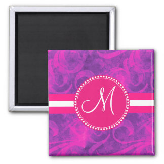 Monogram Purple Pink Floral Swirl Flourish Pattern 2 Inch Square Magnet