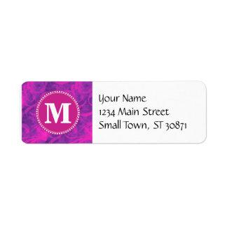 Monogram Purple Pink Floral Swirl Flourish Pattern Label