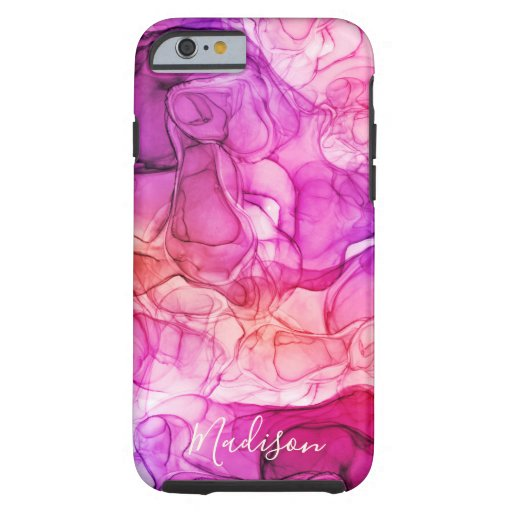 Monogram purple pink marbling dreams tough iPhone 6 case