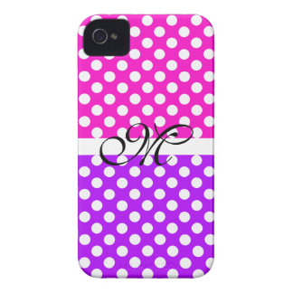 Monogram Purple Pink Pattern Girly Cute Modern Case-Mate iPhone 4 Cases