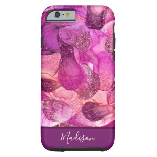 Monogram purple pink sparkle dreams iPhone case