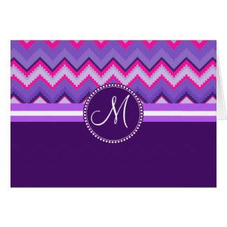 Monogram Purple Pink Tribal Chevron Zig Zags Card