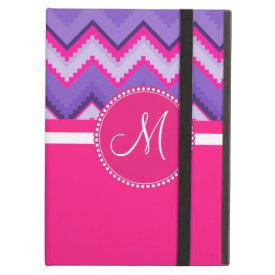 Monogram Purple Pink Tribal Chevron Zig Zags iPad Folio Cases