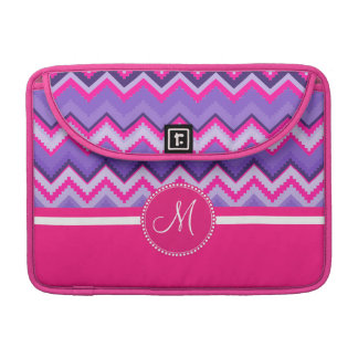 Monogram Purple Pink Tribal Chevron Zig Zags Sleeve For MacBook Pro