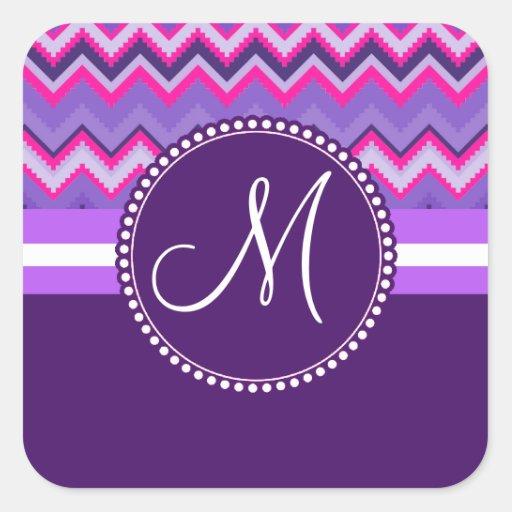 Monogram Purple Pink Tribal Chevron Zig Zags Square Sticker
