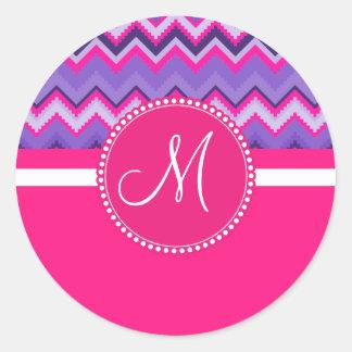 Monogram Purple Pink Tribal Chevron Zig Zags Sticker