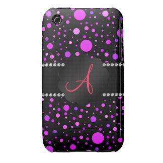 Monogram purple polka dots Case-Mate iPhone 3 cases
