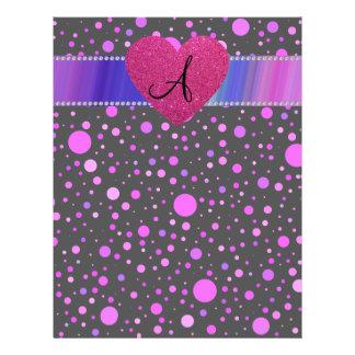 "Monogram purple polka dots pink heart 8.5"" x 11"" flyer"