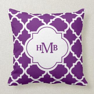 Monogram Purple Quatrefoil Pattern Throw Pillow Throw Pillows