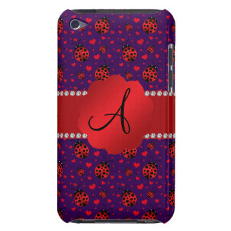 Monogram purple red ladybugs hearts barely there iPod covers