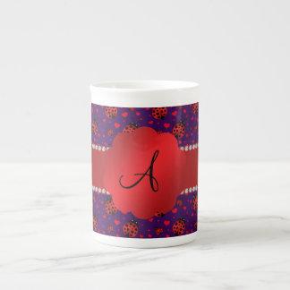 Monogram purple red ladybugs hearts bone china mugs