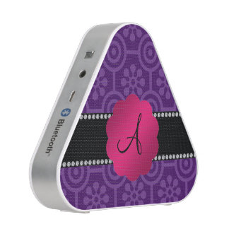 Monogram purple retro flowers and circles bluetooth speaker