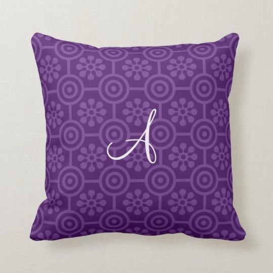 Monogram purple retro flowers and circles throw pillow