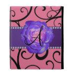 Monogram purple rose pink swirls iPad cases