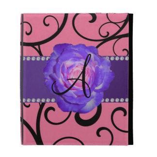 Monogram purple rose pink swirls iPad folio cases