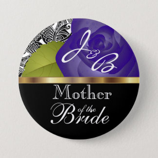 Monogram Purple Rose Wedding Party Design Button
