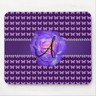 Monogram purple roses butterflies mouse pad