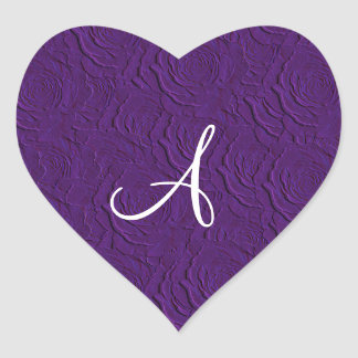 Monogram purple roses faux texture heart stickers