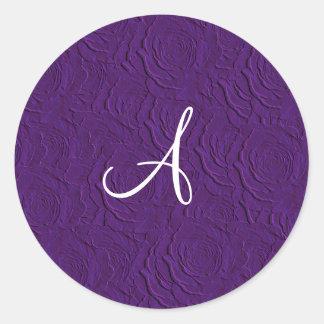 Monogram purple roses faux texture stickers