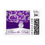 Monogram Purple, Silver Damask Save Date Postage