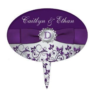 Monogram Purple Silver Floral Wedding Cake Pick