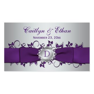 Monogram Purple Silver Floral Wedding Favor Tag