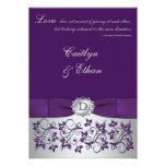 Monogram Purple, Silver Floral Wedding Invitation