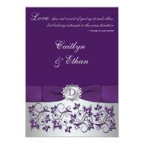 "Monogram Purple, Silver Floral Wedding Invitation 5"" X 7"" Invitation Card"