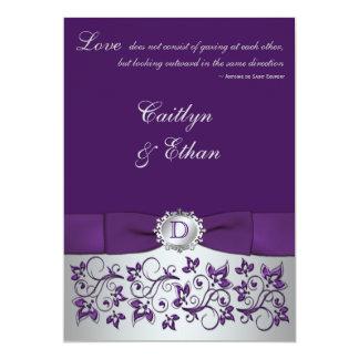Monogram Purple Silver Fl Wedding Invitation