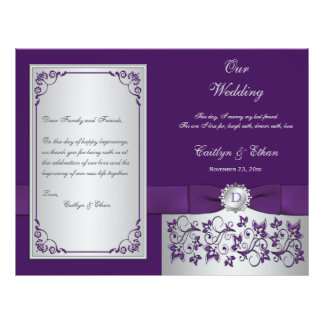 Monogram Purple, Silver Floral Wedding Program 2