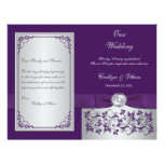 Monogram Purple, Silver Floral Wedding Program 2 Flyer
