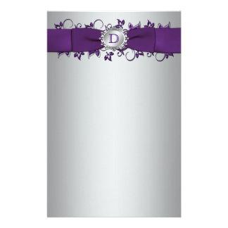 Monogram Purple, Silver Floral Wedding Stationery
