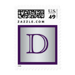 Monogram Purple, Silver Gray Postage
