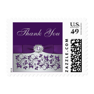 Monogram Purple Silver Gray Thank You Postage