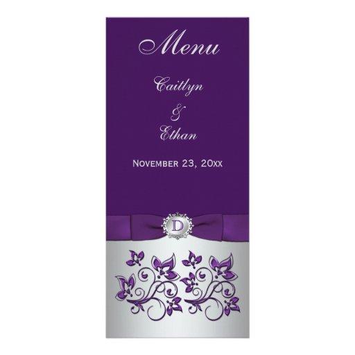 Monogram Purple, Silver Grey Floral Menu Card Customized Rack Card