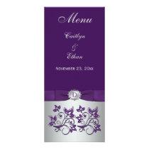 Monogram Purple, Silver Grey Floral Menu Card Rack Card