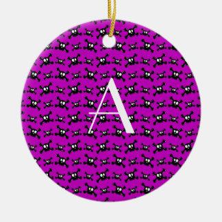 Monogram purple skulls pattern christmas tree ornaments