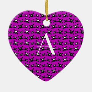 Monogram purple skulls pattern christmas ornament