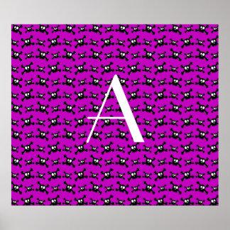 Monogram purple skulls pattern poster