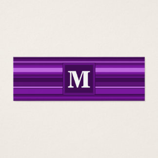 Monogram purple stripes mini business card