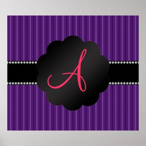 Monogram purple stripes poster