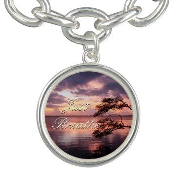 Beach Themed Monogram Purple Sunset Charm Bracelet